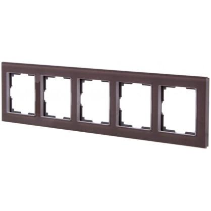 Рамка для розеток и выключателей Favorit 5 постов цвет коричневый