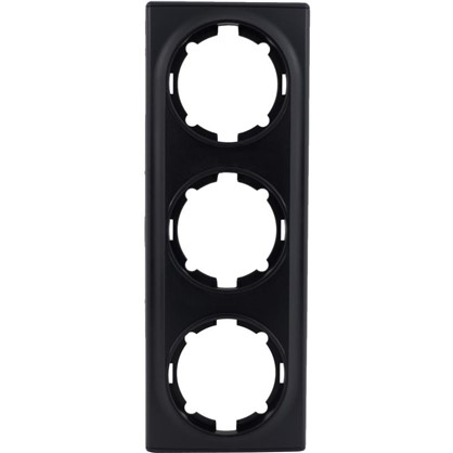 Рамка для розеток и выключателей Florence горизонтальная 3 поста цвет чёрный