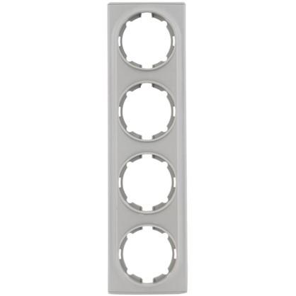 Рамка для розеток и выключателей Florence горизонтальная 4 поста цвет серый