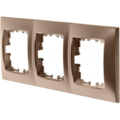 Рамка для розеток и выключателей горизонтальная/вертикальная 3 поста цвет бронза