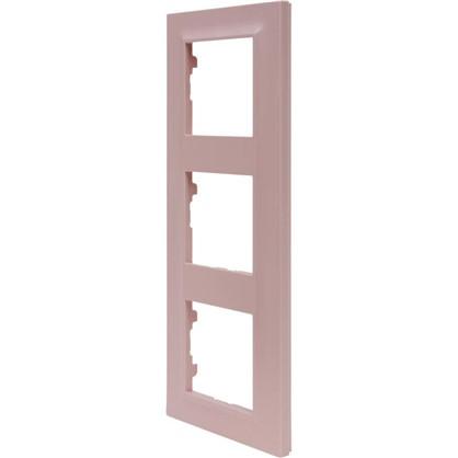 Рамка для розеток и выключателей Legrand Structura 3 поста цвет розовый
