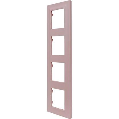 Рамка для розеток и выключателей Legrand Structura 4 поста цвет розовый