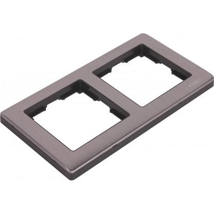 Рамка для розеток и выключателей Metallic 2 поста цвет глянцевый никель