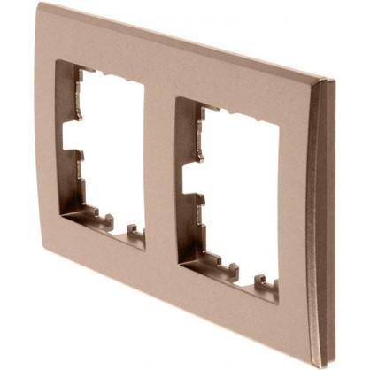Рамка для розеток и выключателей плоская 2 поста цвет бронза