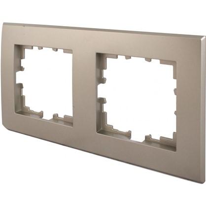 Рамка для розеток и выключателей плоская 2 поста цвет шампань