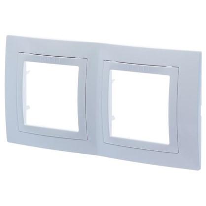 Рамка для розеток и выключателей Schneider Electric Unica декорированная 2 поста цвет белый