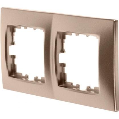 Рамка для розеток и выключателей сферическая 2 поста цвет матовая бронза