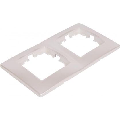 Рамка для розеток и выключателей сферическая 2 поста цвет жемчужно-белый матовый