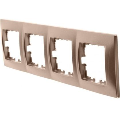 Рамка для розеток и выключателей сферическая 4 поста цвет бронза