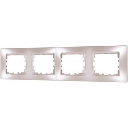 Рамка для розеток и выключателей сферическая 4 поста цвет жемчужно-белый матовый