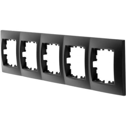 Рамка для розеток и выключателей сферическая 5 постов цвет чёрный бархат матовый