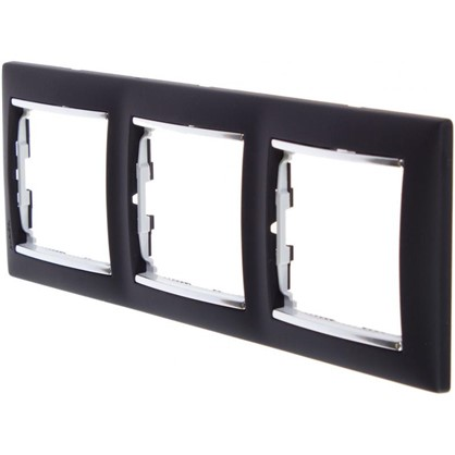 Рамка для розеток и выключателей Valena 3 поста цвет ноктюрн/серебряный штрих