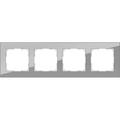 Рамка Favorit 4 поста цвет серое стекло