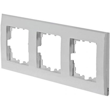 Рамка плоская для розеток и выключателей 3 поста цвет белый