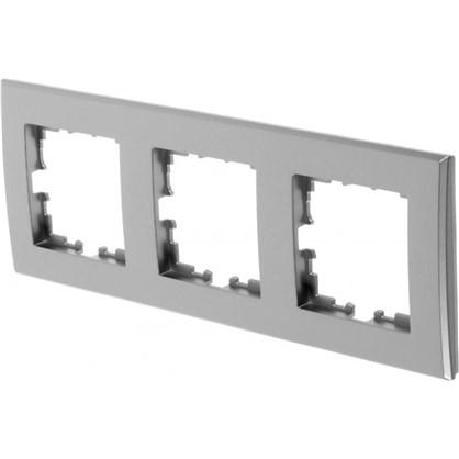 Рамка плоская для розеток и выключателей 3 поста цвет серый