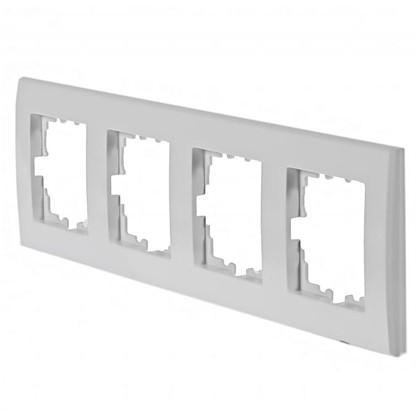 Рамка плоская для розеток и выключателей 4 поста цвет белый