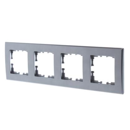 Рамка плоская для розеток и выключателей 4 поста цвет серый