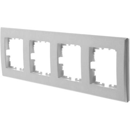 Рамка плоская для розеток и выключателей 4 поста цвет жемчужно-белый