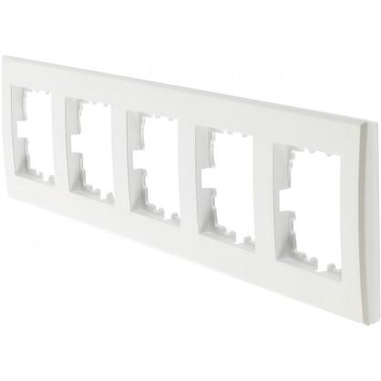 Рамка плоская для розеток и выключателей 5 постов цвет жемчужно-белый
