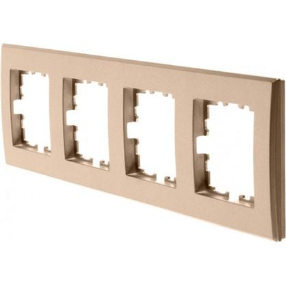 Рамка плоская для розеток и выключателей Lexman Виктория 4 поста цвет матовая бронза