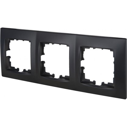 Рамка сферическая для розеток и выключателей Виктория 3 поста цвет чёрный бархат