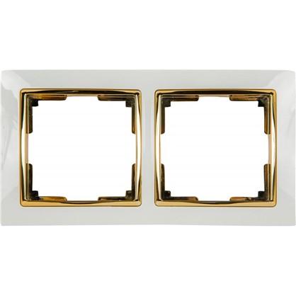 Рамка Snabb 2 поста цвет белый/золото