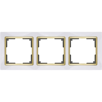Рамка Snabb 3 поста цвет белый/золото