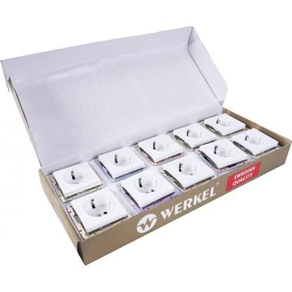 Розетка с заземлением WL01-10-02 цвет белый 10 шт.