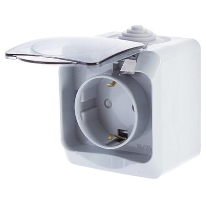Розетка Schneider Electric Этюд с заземлением шторки цвет серый IP44