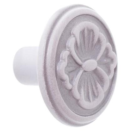 Ручка-кнопка FB-025 000 цвет серебро прованс/ белый матовый