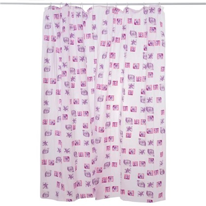Штора для ванной Розовые ракушки 180х180 см цвет розовый