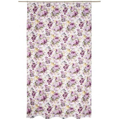 Штора на ленте Цветы акварель 140х260 см цвет сиреневый