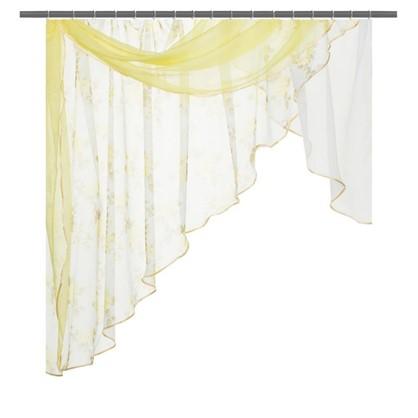Штора на ленте для кухни в комплекте Мелодия 280х160 см цвет золотой
