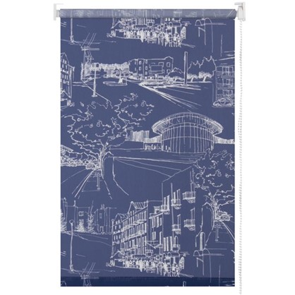 Штора рулонная Город 50х175 см цвет темно-синий