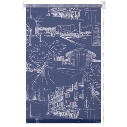 Штора рулонная Город 70х175 см цвет темно-синий