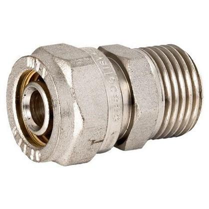 Соединитель обжимной Valtec наружная резьба 20х3/4 мм никелированная латунь