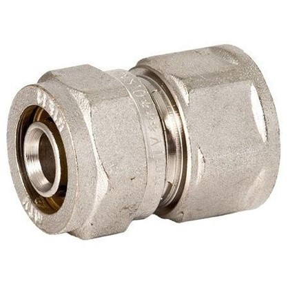 Соединитель обжимной внутренняя резьба 16 мм х 3/4 никелированная латунь