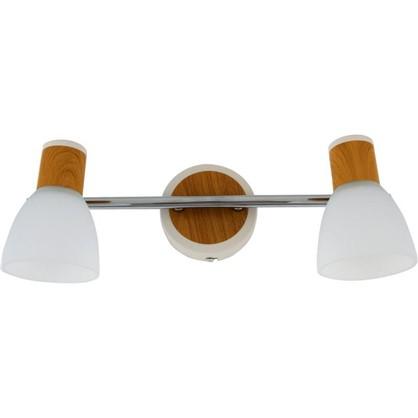 Спот поворотный Бутон на планке 2 лампы 4 м² цвет сосна