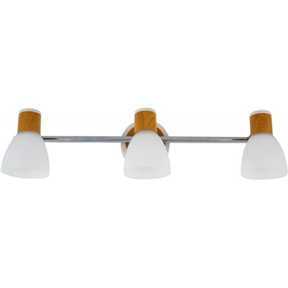 Спот поворотный Бутон на планке 3 лампы 6 м² цвет сосна