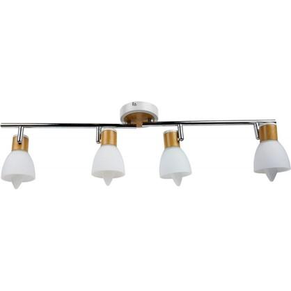 Спот поворотный Бутон на планке 4 лампы 8 м² цвет сосна