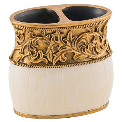 Стакан для зубных щеток настольный Флоренция полирезина цвет кремовый