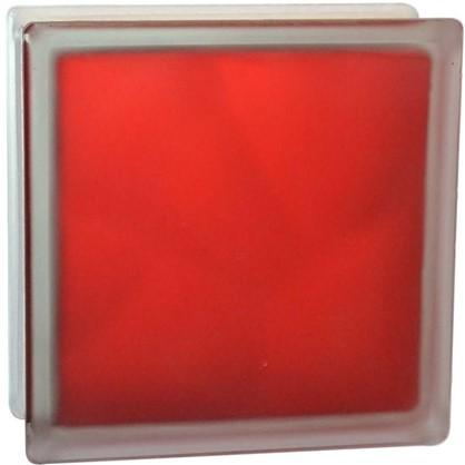 Стеклоблок Волна цвет ярко-рубиновый полуматовый