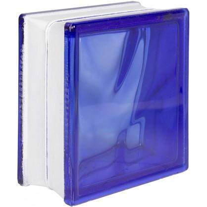 Стеклоблок Волна окрашенный в массе цвет синий