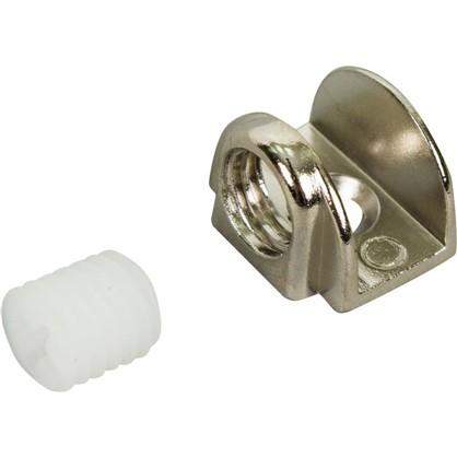 Стеклодержатель мебельный П-образный на шурупе металл цвет хром 2 шт.