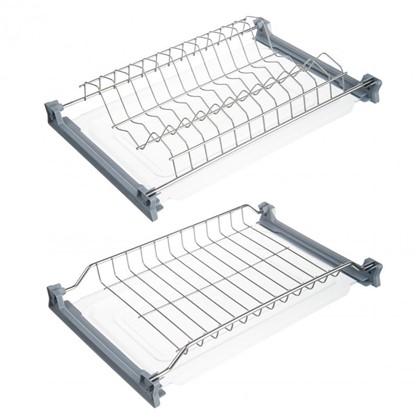 Сушилка для посуды с двумя поддонами для верхнего шкафа 450 мм нержавеющая сталь цвет хром
