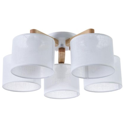 Светильник потолочный Белла 5хЕ27х60 Вт цвет белый/дерево