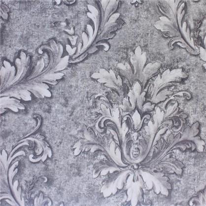Ткань сатен Листья 280 см цвет серый