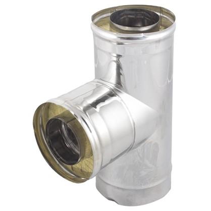 Тройник утепленный 90° 120 мм зеркальная нержавеющая сталь