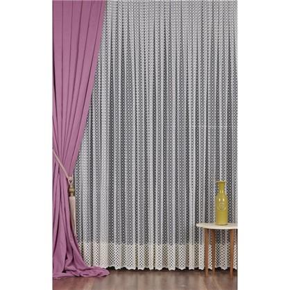 Тюль с вышивкой на сетке Геометрия 1 п/м 290 см цвет кремовый