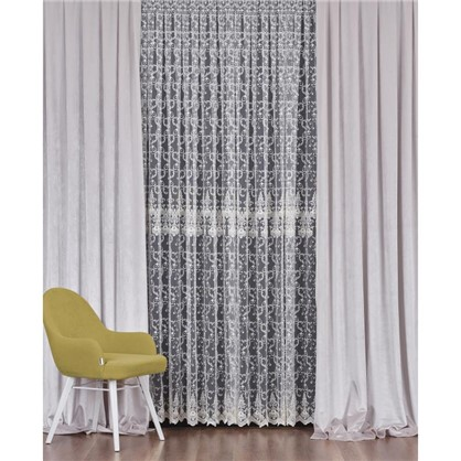 Тюль с вышивкой на сетке Грация 1 п/м 290 см цвет кремовый